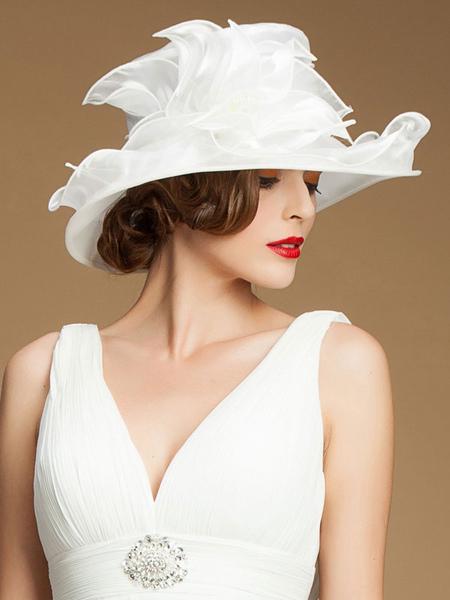 Vintage White Hat Women's 1950s Organza Retro Hat