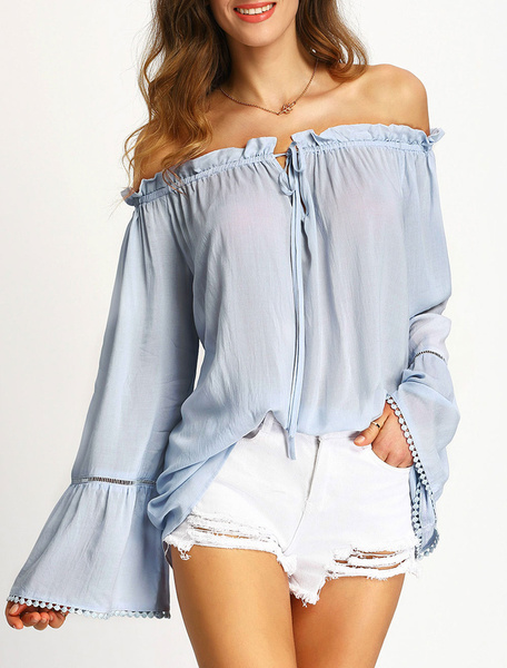 Pleated Women's Blouses Off Shoulder Long Flare Sleeve Drawstring Chiffon Tops фото