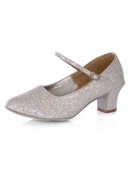 Glitter Ballroom Dance Shoes Women's Round Toe Ankle Strap Chunky Heels фото
