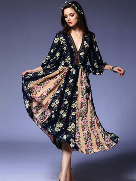 Mousseline de soie imprimé Floral V cou robe Skater Bohême robe féminine d'été