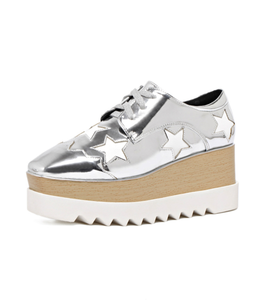 White Platform Shoes Star Pattern Lace Up Glazed PU Wedge Women's Oxfords фото