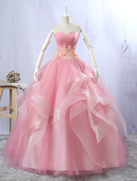 Tulle Quinceanera Dresses Lace Flowers Beading Light Pink Sleeveless Sweatheart Strapless Organza Fl фото