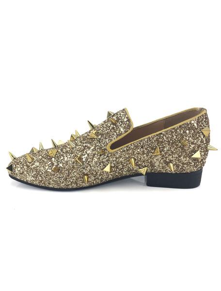 Золото блестками мужские мокасины металлические скольжения на Спайк обувь