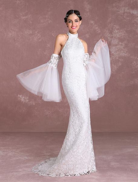 Boho Wedding Dresses 2017 Lace Beach Summer Bridal Dress Halter Mermaid Bell Sleeve Bridal Gown With фото