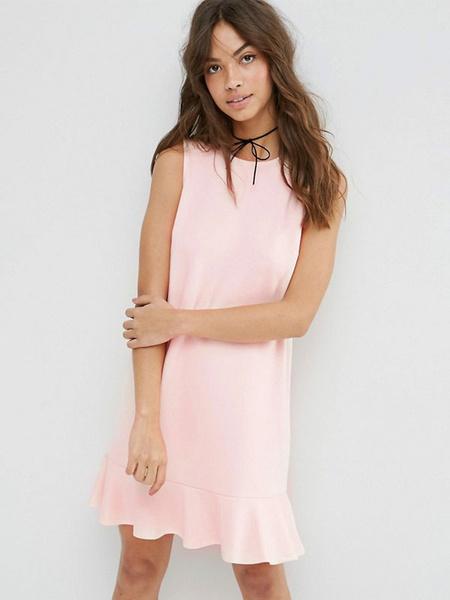 Women's Shift Dress Light Apricot Jewel Neck Sleeveless Ruffle Hem Casual Dress