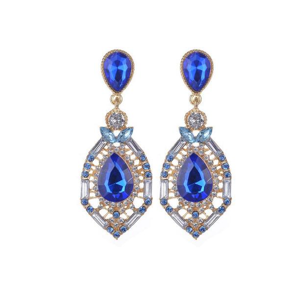 Women's Dangle Earrings Gemstone Jeweled Rhinestones Beaded Oval Shape Vintage Dangle Earrings