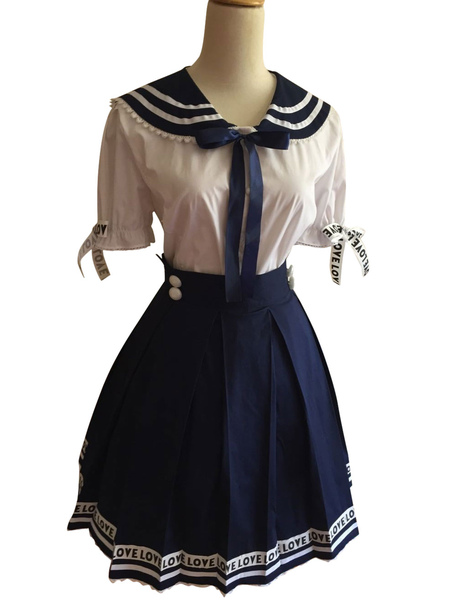 Sweet Navy People Cotton Lolita Outfits