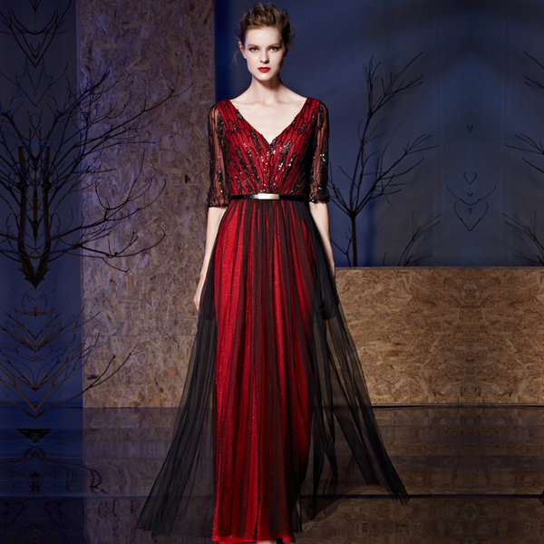 54226d57 Sequin Evening Dress Tulle A-line Floor-length Half Sleeves V-neck Mother  Of The Bride Dress With Be