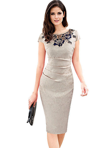 Women's Bodycon Dress Deep Blue Applique Short Sleeve Shaping Sheath Dress фото