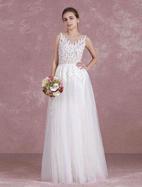 Summer Wedding Dresses 2017 Boho Beach Bridal Dress Illusion Lace Applique Tulle Sleeveless A Line S