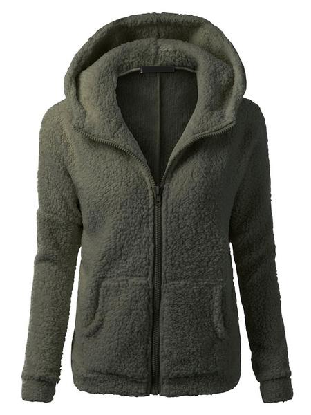 White Women's Hoodie Furry Long Sleeve Zipper Casual Coat For Winter