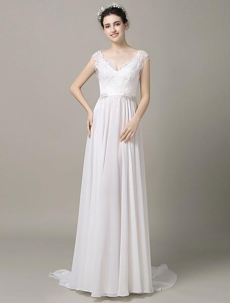 Pannello treno Boho Beach Wedding Dress illusione pizzo Applique perline Split Chiffon a-line abito