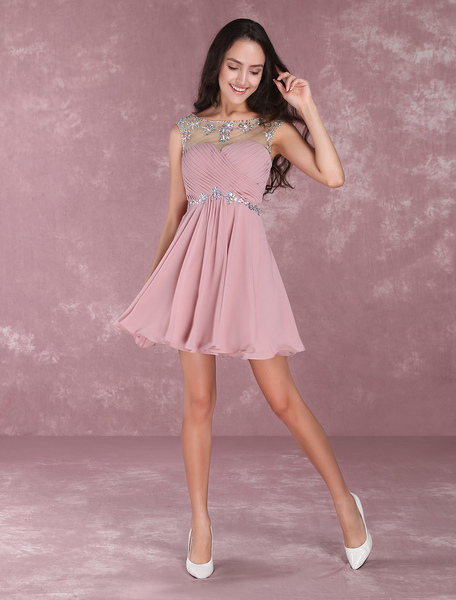 Short Homecoming Dresses Turquoise Illusion Sweetheart Mini Prom Dress Beading Chiffon Cocktail Dres