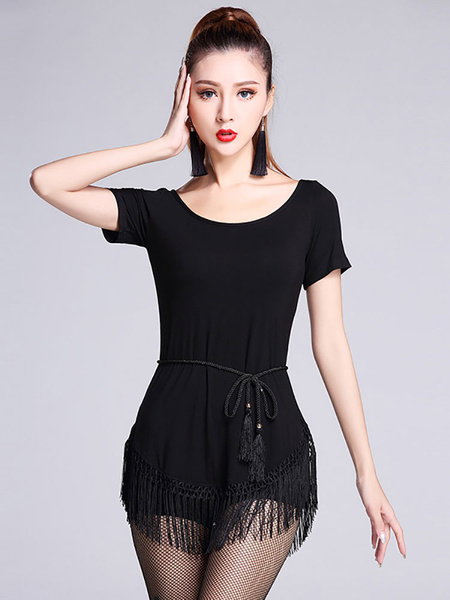 Latin Dance Costumes Black Round Neck Short Sleeve Top With Tassels For Women фото