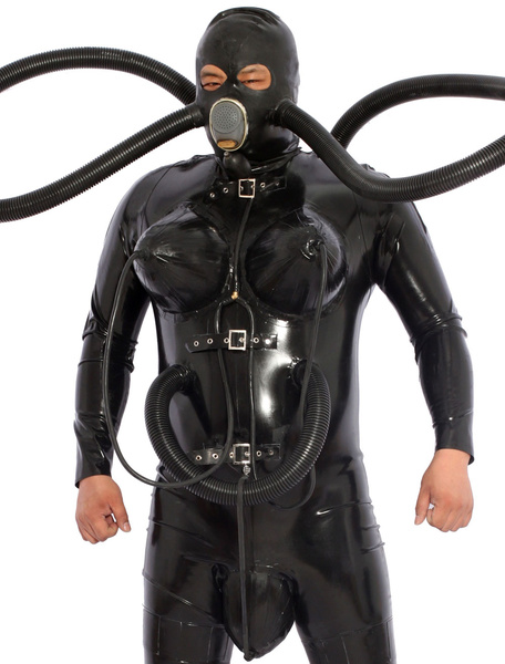 Black Diving Catsuit Latex Zentai With Inflatable Breasts Gas Mask Bag фото