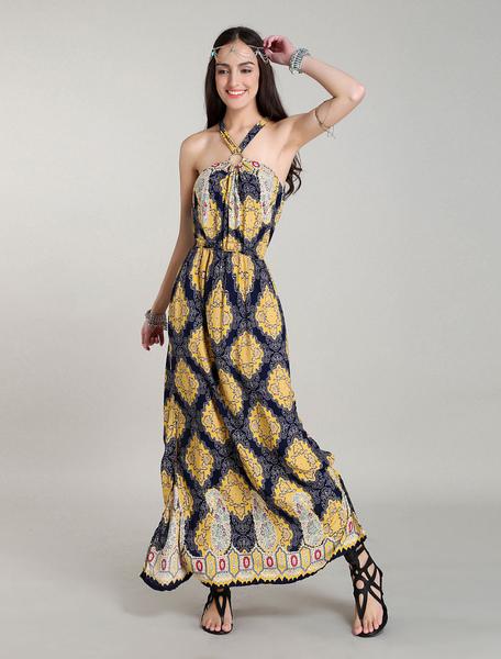 Maxi Boho Vestidos Africano Printed largo vestido Halter Backless Bohemian Summer Dress