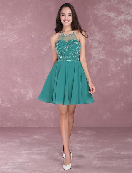 Short Homecoming Dresses Halter Backless Prom Dresses Beading Chiffon Dark Green Mini Cocktail Dress Milanoo