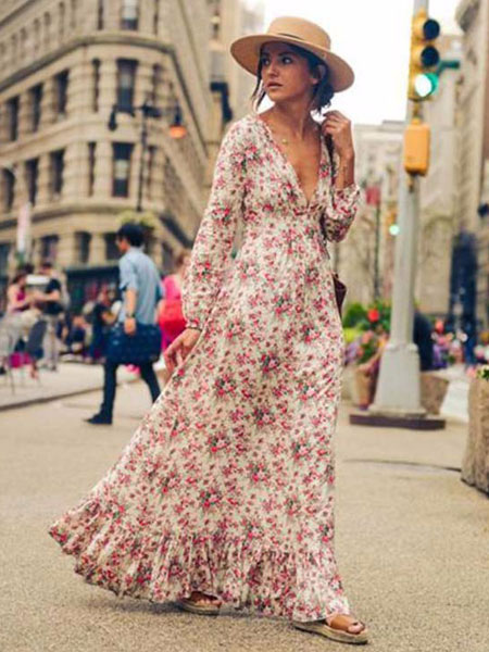 Pink Maxi Dress V Neck Long Sleeve Ruffle Floral Printed Slim Fit Long Dress