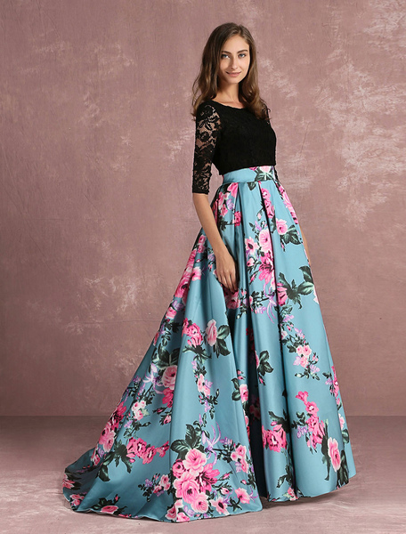 Floral Prom Dress Lace Backless Printed Pageant Illusion 3/4 Sleeve Pleated A Line Party Dress With фото