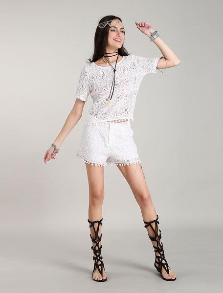 Weiß Zwei Stück Sets Lace Boho Quasten Sommer Outfits