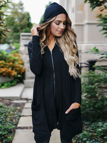 Sweater activewear en coton mélangé noir unicolore avec zip irrégulier à capuche