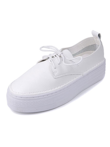 Cowhide White Sneakers Women's Round Toe Lace Up Platform Athletic Shoes фото