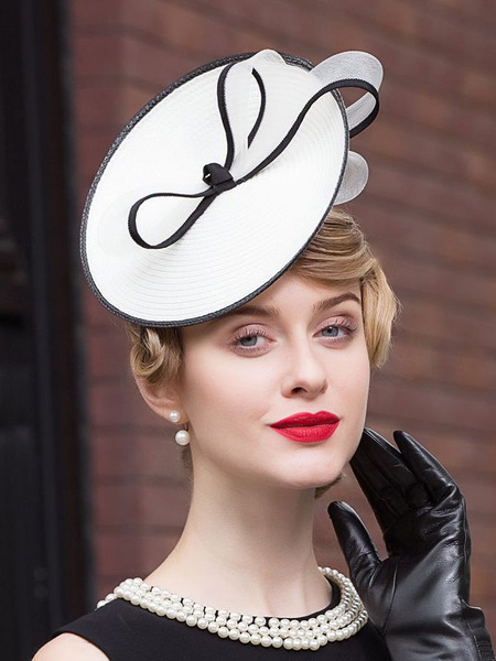 Vintage Hat Fascinator Women's White Headband Cocktail Tea Party Costume Hatinator фото