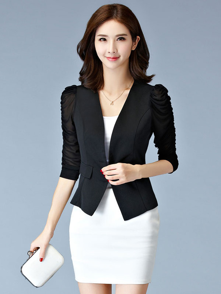 Black Ladies Fitted Blazer Illusion Ruched Sleeve Button Slim Fit Short Jacket фото