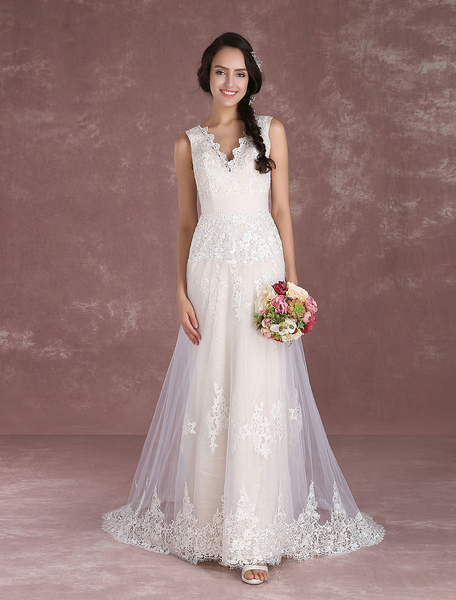 Summer Wedding Dresses 2017 Boho Champagne Beach Bridal Dress Lace Applique V Neck Sleeveless Bridal
