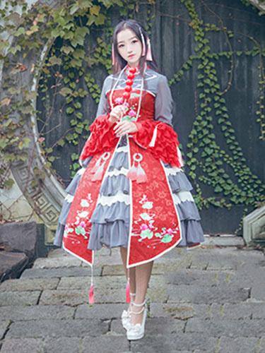 Qi Lolita Dress OP Two Tone Stand Collar Long Sleeve Printed Lolita One Piece Dress фото