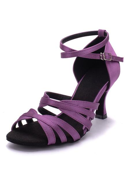Latin Dance Shoes Satin Stiletto Criss Cross Strappy Buckles Kitten Heel Ballroom Shoes