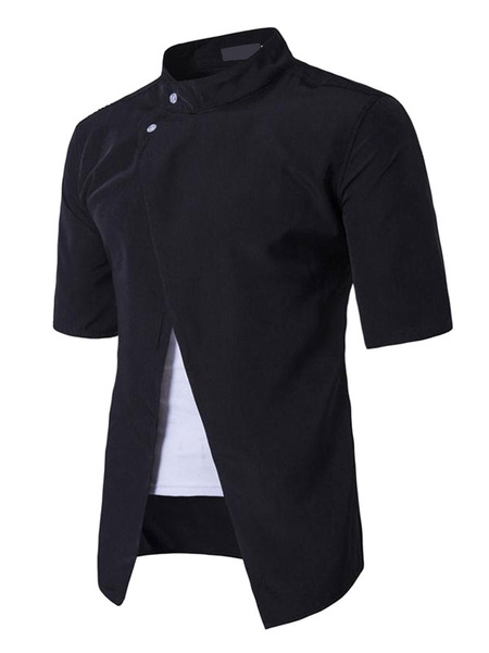 Men's Black Shirts Short Sleeve Fake 2 Piece Buttons Stand Collar Summer Tops