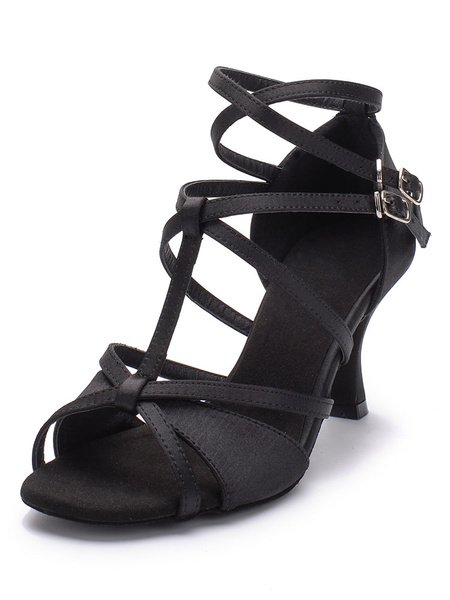Latin Dance Shoes Satin Open Toe Stiletto Strappy Criss Cross Ankle Strap Ballroom Shoes