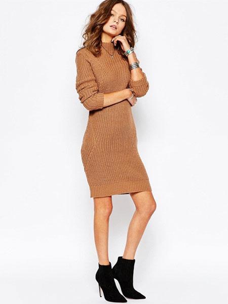 Vestito in maglia marrone cotone misto a girocollo maniche lunghe lavorato a maglia all'uncinetto do