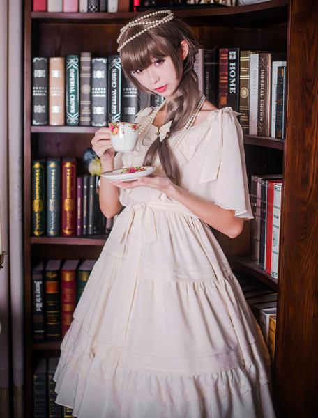 Sweet Lolita Dress Dawn And Moon OP Ecru White Chiffon One Piece Dress Milanoo