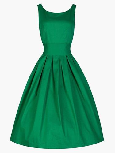 Women's Vintage Dress Cotton A-Line Sleeveless Flare Dress