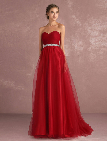 Red Prom Dresses 2017 Long Strapless Backless Tulle Evening Dress Sweetheart Sleeveless Rhinestones фото