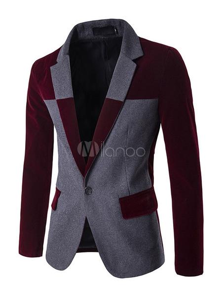 Пиджак мужской с контрастной куртка цвет 1-клавишный центр Вент случайные спортивная куртка