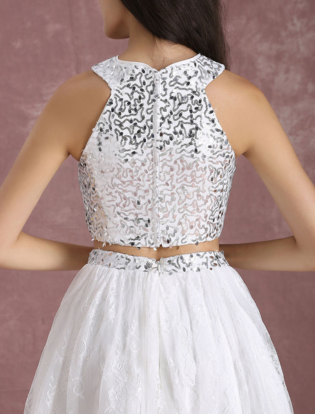 53dec617a Two Piece Homecoming Dress Ivory Lace Short Prom Dress Crop Top Sequin A  Line Knee Length. sku: 702072