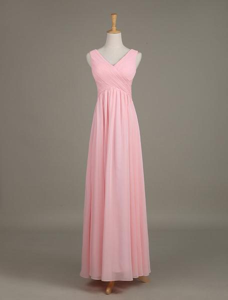 Arrossire damigella d'onore abito V collo Chiffon increspato un linea Maxi Wedding Party Dress