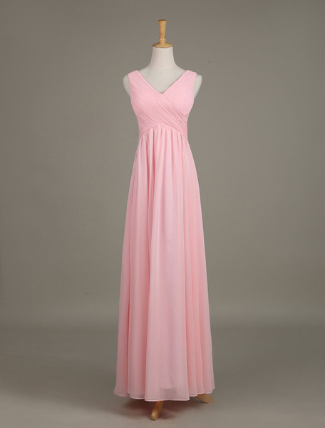 Blush Bridesmaid Dress V Neck Chiffon Ruched A Line Maxi Wedding Party Dress Milanoo