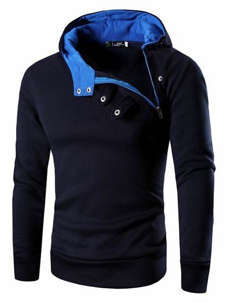 Мужской пуловер с капюшоном молнии с пряжкой повседневная толстовка с капюшоном