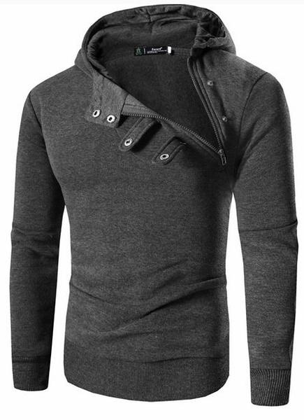 Milanoo / Herren Pullover Hoodie Zipper Schnallen Detail lässigen Kapuzen-Sweatshirt