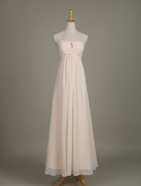 Long Bridesmaid Dress Nude Strapless Sweetheart Cut Out Chiffon A Line Wedding Party Dress фото