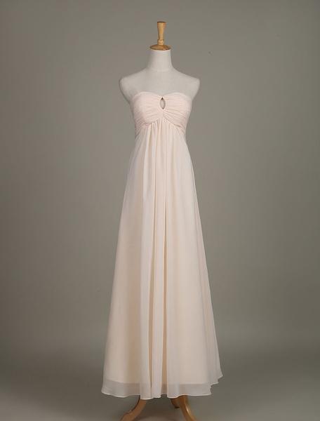 Damigella d'onore abito senza spalline nudo tagliato Chiffon un linea Wedding Party Dress