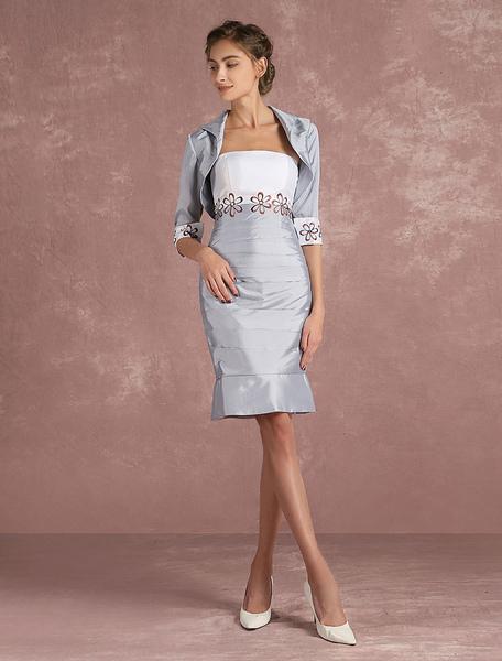 Vornehmes Abendkleid aus Taft mit trägerlosem Design und Stickereien und Falten und Reißverschluss i