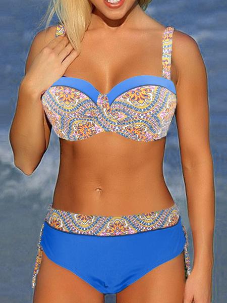 2 Piece Swimsuit Royal Blue Spaghetti Straps Printed Bikini Top With High Waist Panties фото