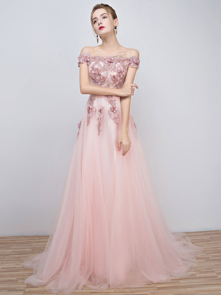 Pink Prom Dresses 2017 Long Tulle Off The Shoulder Prom Dress Lace Applique Beading Flower Occasion