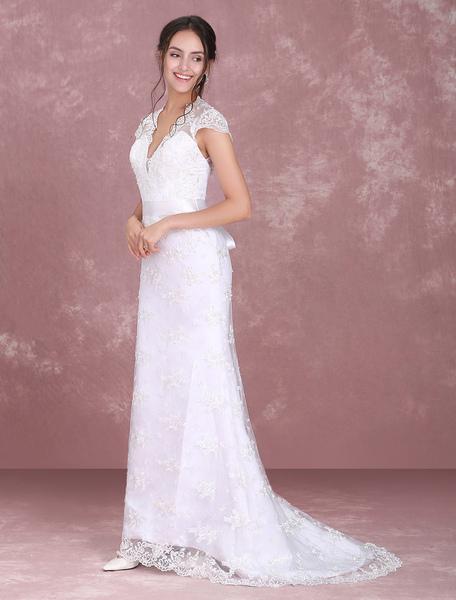 Milanoo Robe de mariée blanche dentelle col V dos nu à traîne robe de mariage - milanoo.com - Modalova