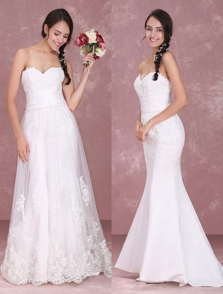 Strapless Wedding Dress Sweetheart Neckline Detachanle Court Train Mermaid Lace Bridal Gown Milanoo фото